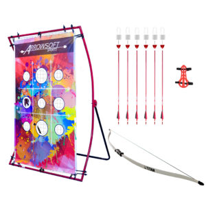 "Backyard beginner archery set with beginner recurve bow, carbon fiber arrows with foam-tipped arrowheads, and ""Paint Splat"" target board 