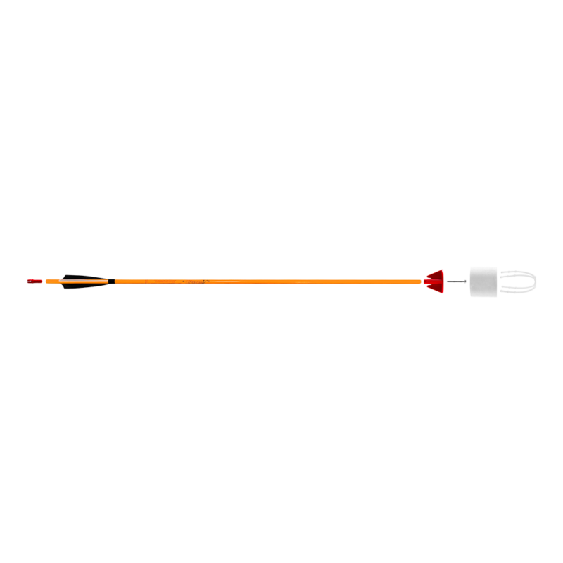 neon orange carbon fiber arrow with foam tip arrowhead arrowsoft sports